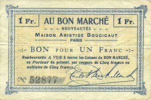Banknotes Paris (75). Au Bon Marché. Billet. 1 franc