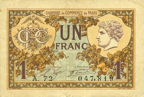 banknotes french emergency notes paris 75 chambre de commerce billet 1 franc 10. Black Bedroom Furniture Sets. Home Design Ideas