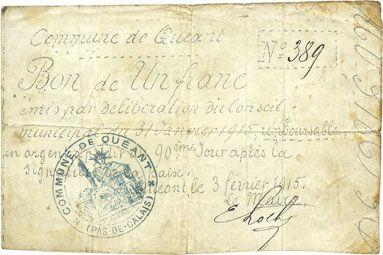 Banknotes Quéant (62). Commune. Billet. 1 franc 3.2.1915, non annulé