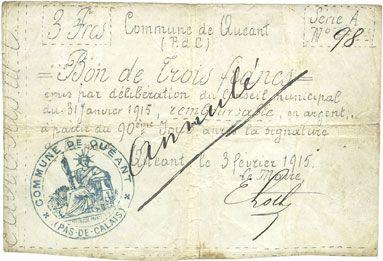 Banknotes Quéant (62). Commune. Billet. 3 francs 3.2.1915, série A