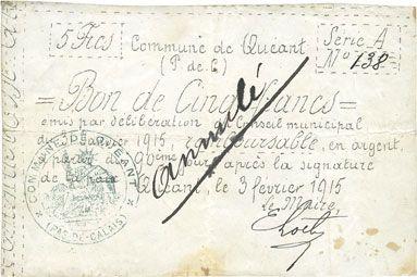 Banknotes Quéant (62). Commune. Billet. 5 francs 3.2.1915, série A