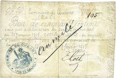Banknotes Quéant (62). Commune. Billet. 50 centimes 3.2.1915, série A