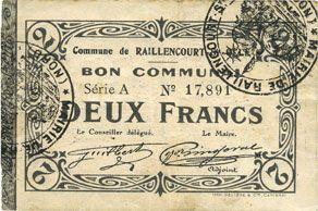 Banknotes Raillencourt-Ste-Olle (59). Commune. Billet. 2 francs 16.12.1915, série A