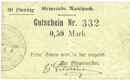 Banknotes Ranspach (68). Billet. 0,50 mark. Cachet communal allemand
