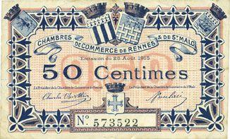 Banknotes Rennes Et Saint Malo  Chambres De Commerce Billet