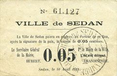 Banknotes Sedan (08). Ville. Billet. 0,05 centimes 10.8.1915