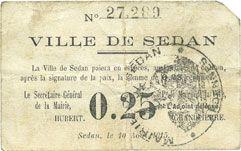 Banknotes Sedan (08). Ville. Billet. 0,25 centimes 10.8.1915