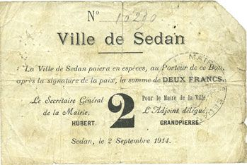 Banknotes Sedan (08). Ville. Billet. 2 francs 2.9.1914