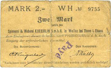 Banknotes Willer-sur-Thur. Spinnerei & Weberei Koechlin GmbH. Billet. 2 mark 17.8.1914. Annulé