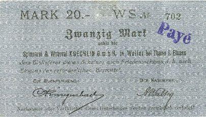 Banknotes Willer-sur-Thur. Spinnerei & Weberei Koechlin GmbH. Billet. 20 mark 17.8.1914. Annulé
