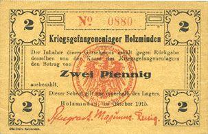 Banknotes Allemagne. Holzminden. Kriegsgefangenenlager. Billet. 2 pfennig octobre 1915