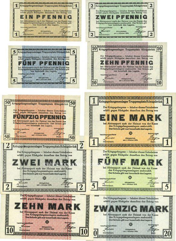 Banknotes Allemagne. Königsbrück. Kriegsgefangenenlager - Truppenplatz Königsbrück. 10 billets. 1 pf - 20 mk