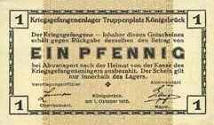 Banknotes Allemagne. Königsbrück. Kriegsgefangenenlager - Truppenplatz Königsbrück. Billet. 1 pf 1.10.1915