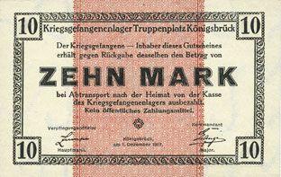 Banknotes Allemagne. Königsbrück. Kriegsgefangenenlager - Truppenplatz Königsbrück. Billet. 10 mark 1.12.1917