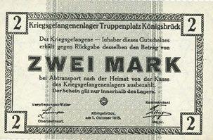 Banknotes Allemagne. Königsbrück. Kriegsgefangenenlager - Truppenplatz Königsbrück. Billet. 2 mark 1.10.1915