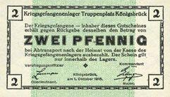 Banknotes Allemagne. Königsbrück. Kriegsgefangenenlager - Truppenplatz Königsbrück. Billet. 2 pf 1.10.1915