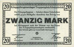 Banknotes Allemagne. Königsbrück. Kriegsgefangenenlager - Truppenplatz Königsbrück. Billet. 20 mark 1.10.1915