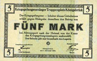 Banknotes Allemagne. Königsbrück. Kriegsgefangenenlager - Truppenplatz Königsbrück. Billet. 5 mark 1.10.1915