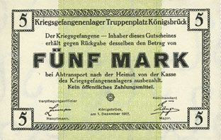 Banknotes Allemagne. Königsbrück. Kriegsgefangenenlager - Truppenplatz Königsbrück. Billet. 5 mark 1.12.1917