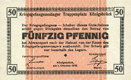 Banknotes Allemagne. Königsbrück. Kriegsgefangenenlager - Truppenplatz Königsbrück. Billet. 50 pf 1.10.1915