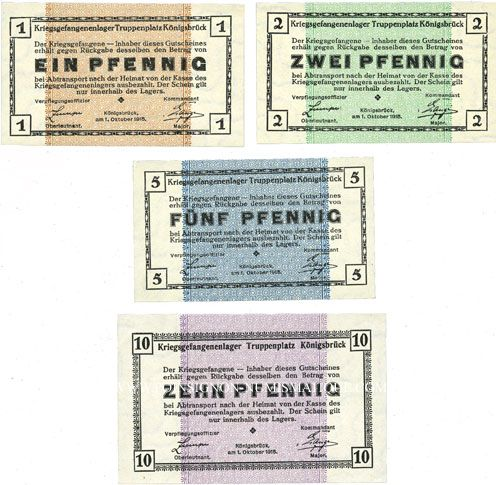 Banknotes Allemagne. Königsbrück. Kriegsgefangenenlager - Truppenplatz Königsbrück Billets 1, 2, 5, 10 pf 1915