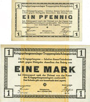 Banknotes Allemagne. Königsbrück. Kriegsgefangenenlager - Truppenplatz Königsbrück. Billets. 1 pf, 1 mk 1915
