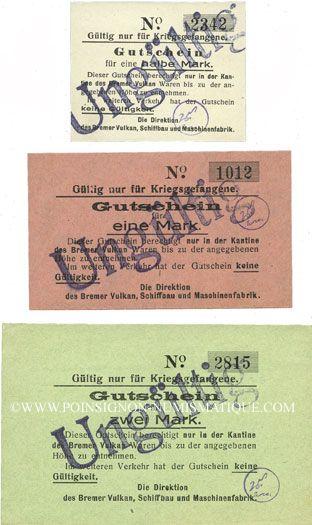 Banknotes Vegesack. Bremer Vulkan. Schiffbau und Maschinenefabrik. Billets. 1/2 , 1, 2 mark n. d.,  Ungültig