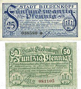 Banknotes Allemagne. Biedenkopf. Stadt. Billets. 25 pf, 50 pf 15.8.1920