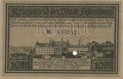 Banknotes Altenburg. Stadt. Billet. 10 mark 15.11.1918, cachet, perforation