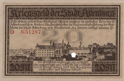 Banknotes Altenburg. Stadt. Billet. 20 mark 15.11.1918, cachet, perforation
