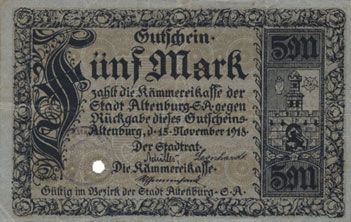 Banknotes Altenburg. Stadt. Billet. 5 mark 15.11.1918, cachet, perforation