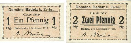 Banknotes Badetz bei Zerbst. Domäne. Billets. 1 pf, 2 pf 1.9.1918