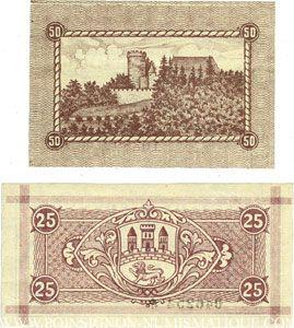 Banknotes Biedenkopf. Stadt. Billets. 50 pf n.d., 25 pf 15.8.1920