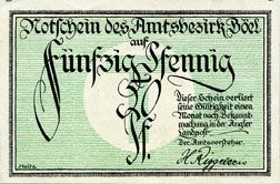 Banknotes Böel. Amstsbezirk. Billet. 50 pf (1920)