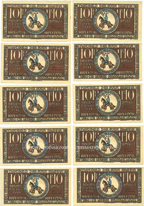 Banknotes Brehna. Stadt. Billets. 10 pfennig (10 ex) juillet 1921