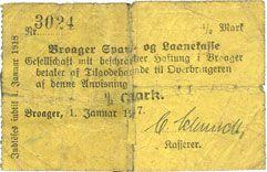 Banknotes Broacker (Danemark, Broager). Sparkasse. Billet. 1/2 mark 1.1.1917