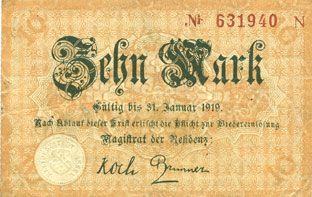 Banknotes Cassel. Stadt. Billet. 10 mark n. d. - 31.1.1919, série N
