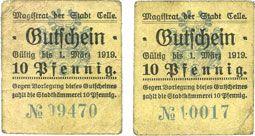 Banknotes Celle. Stadt. Billets. 10 pf (2ex) (1917)
