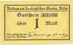 Banknotes Cologne-Riehl. Restaurant Zoologischer Garten. Billet. 1 mark