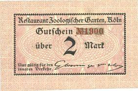 Banknotes Cologne-Riehl. Restaurant Zoologischer Garten. Billet. 2 mark