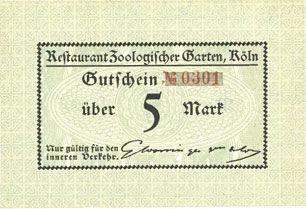 Banknotes Cologne-Riehl. Restaurant Zoologischer Garten. Billet. 5 mark