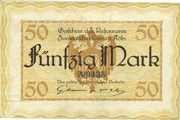 Banknotes Cologne-Riehl. Restaurant Zoologischer Garten. Billet. 50 mark