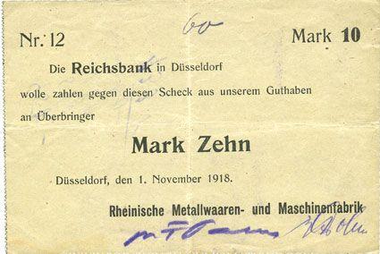 Banknotes Düsseldorf. Rheinische Metallwaaren- und Maschinenfabrik. Billet. 10 mark 1.11.1918