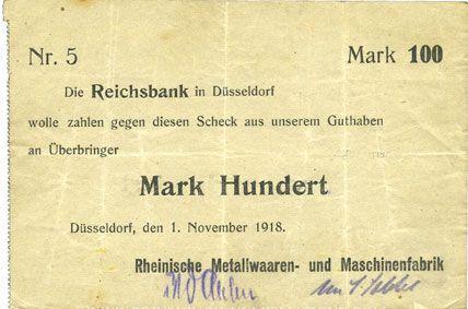 Banknotes Düsseldorf. Rheinische Metallwaaren- und Maschinenfabrik. Billet. 100 mark 1.11.1918