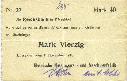 Banknotes Düsseldorf. Rheinische Metallwaaren- und Maschinenfabrik. Billet. 40 mark 1.11.1918
