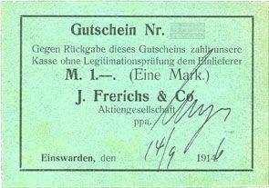Banknotes Einswarden. Frerichswerft. Billet. 1 mark 14.9.1916