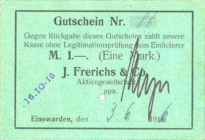 Banknotes Einswarden. Frerichswerft. Billet. 1 mark 3.6.1916. N° 86
