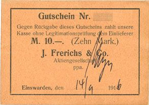 Banknotes Einswarden. Frerichswerft. Billet. 10 mark 14.9.1916
