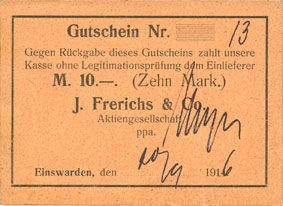 Banknotes Einswarden. Frerichswerft. Billet. 10 mark 20.9.1916. N° 13 !