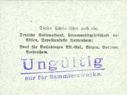 Banknotes Einswarden. Frerichswerft. Billet. 10 mark octobre 1918, signature en rouge